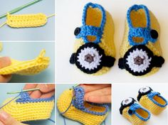 Minion Inspired Booties Free Crochet Pattern