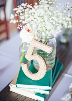 Simple beach wedding table number www.loveitsomuch.com