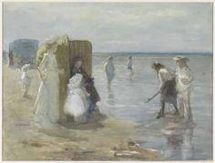Gezicht langs de vloedlijn aan het Scheveningse strand, met twee dames en kinderen, Johan Antonie de Jonge, 1874 - 1927 - Rijksmuseum