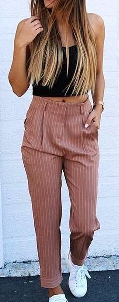 #summer #outfits striped palazzo pants + crop top