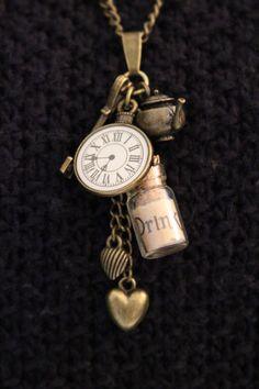 Alice in Wonderland necklace, long necklace, daughter gift, gift for her, pocket…
