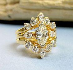 Retro 14K yellow gold 1.4ct marquise diamond engagement ring guard set, $3,750.00.