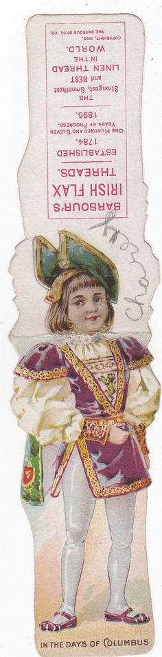 Paper Doll Trade card, Barbour's Irish Flax Threads, 1880-90s | eBay