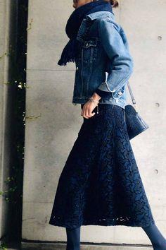 ヴィンテージムードを、 ワントーンで楽しむ / コーディネート詳細 / Kyoko Kikuchi's Closet | 菊池京子のクローゼット [ K.K closet ] Xl Fashion, Denim Fashion, Fashion Outfits, Womens Fashion, Going Out Outfits, Coat Dress, Blazer, Clothing Patterns, Casual Outfits