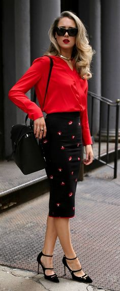 My favorite work and travel bag // Red silk wrap blouse, black work-appropriate pencil skirt with floral embellished, suede mary jane black pumps, black cat-eye sunglasses, gold chocker, black work bag {Victoria Beckham, gucci, saint laurent, le specs, se