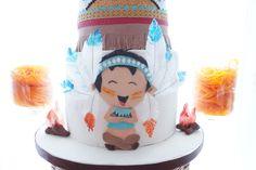 Cake detail from a Pow Wow Birthday Party on Kara's Party Ideas   KarasPartyIdeas.com (4)