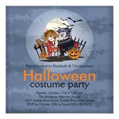 Shop Cute Couple Halloween Costume Party Invitation created by celebrateitholidays. Gothic Halloween Costumes, Cute Couple Halloween Costumes, Adult Halloween Party, Halloween Costume Party Invitations, Pumpkin Carving Party, Holiday Fun, Cute Couples, Monsters, Horror