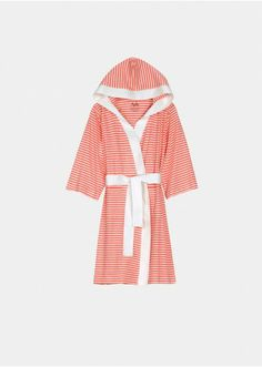 Knee Length Striped Jersey Knit Robe