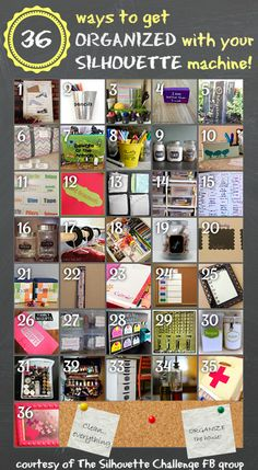 Get organized with your Silhouette Machine!  Here are 36 inspirational projects to get your gears turning....
