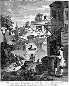 William Hogarth Satire on False Perspective: Whoever makes a DESIGN without the knowledge of PERSPECTIVE will be liable to such absurdities as are shewn in this Frontispiece. (1753)