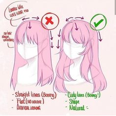 hair tips \ hair tips ; hair tips and tricks ; hair tips dyed ; hair tips growing ; hair tips quotes ; hair tips and tricks styling ; hair tips and tricks hacks ; hair tips frizzy Art Drawings Sketches, Cartoon Drawings, Drawings Of Hair, Pencil Drawings, Drawing Techniques, Drawing Tips, Drawing Hair Tutorial, Anime Drawing Tutorials, Drawing Ideas