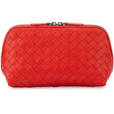 Bottega Veneta Medium Woven Lambskin Cosmetics Bag (18,540 THB) ❤ liked on Polyvore featuring beauty products, beauty accessories, bags & cases, bags, beauty, bolsas, filler, red, cosmetic purse and toiletry bag