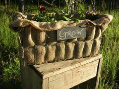 another burlap planter