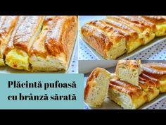 PLĂCINTĂ PUFOASĂ cu brânză sărată || DULCINELE ❤ Romanian Food, Queso, Banana Bread, Cake Recipes, French Toast, Cheddar, Cooking Recipes, Sweets, Breakfast