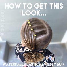 How to: Waterfall Elastics to Messy Bun