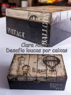 Bon voyage or travel momento box Decoupage Box, Decoupage Vintage, Painted Boxes, Wooden Boxes, Mixed Media Boxes, Cigar Box Art, Altered Cigar Boxes, Creative Box, Vintage Box