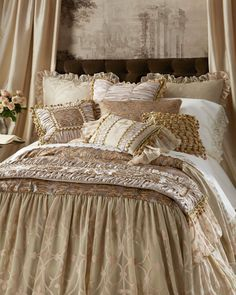 Shop luxury bedding sets and bedding collections at Horchow. Browse our incredible selection of full, queen, and king size luxury bedding sets. Bedroom Themes, Bedroom Styles, Bedroom Decor, Master Bedroom, Luxury Bedding Sets, Luxury Linens, Cool Beds, Luxurious Bedrooms, Linen Bedding