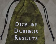 Dungeons and Dragons DUBIOUS RESULTS game dice bag