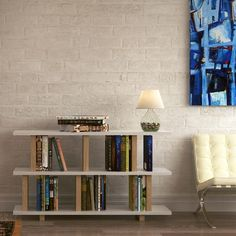 Shelving unit DREH consists of one basic module DREH (stands on the floor on the wooden legs) and one extension module DREH. Shops, Compact Living, Wooden Leg, Small Apartments, Home Interior, Getting Organized, Designer, Bookcase, Shelves