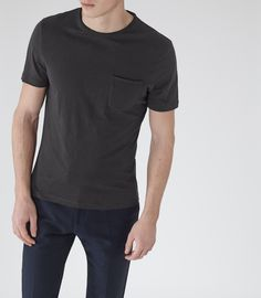 Mens Off Black Raw Edge T-shirt - Reiss Imperial