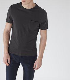 Mens Off Black Raw Edge T-shirt - Reiss Imperial