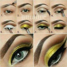 Cheerful Yellow Eyeshadow Tutorial For Beginners   12 Colorful Eyeshadow Tutorials For Beginners Like You! by Makeup Tutorials at http://makeuptutorials.com/colorful-eyeshadow-tutorials-for-beginners/