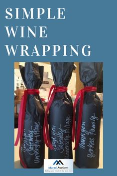 Love this idea of thanking the wine donors for your wine pull. Simple and elegant wrapping too! Themed Gift Baskets, Raffle Baskets, Wine Tasting Party, Wine Parties, Wine Pull, Creative Gift Wrapping, Wrapping Ideas, Fundraiser Party, Silent Auction Baskets