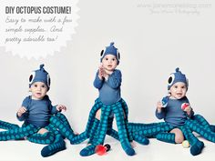 Alright, it's October 1st...so, in my book, Halloween is just around the corner - I love this time of year! I thought I'd share here the Octopus Costume I made for Baby O last year, incase anyone out there is brainstorming about simple costumes to make for their baby or toddler. I love this costume because it could work well for non-walkers too. It's also great for boys or girls. I do wish I had better photos of her, and of the construction process itself, but I hope you'll enjoy what I do…