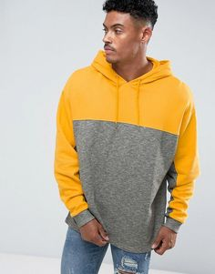 ASOS Oversized Hoodie With Cut & Sew - Yellow