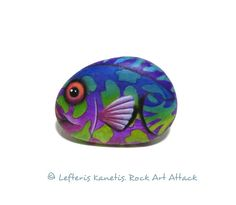 Fridge Magnet Colorful fish Hand Painted Pebble  от RockArtAttack