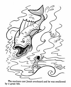 Jonah and the Whale (big fish) - Old Testament Coloring Pages Whale Coloring Pages, Flower Coloring Pages, Colouring Pages, Coloring Sheets, Free Coloring, Jonah Bible, Matthew Bible, Creation Bible, Genesis Bible