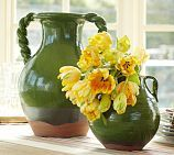 """love these """"adelle"""" vases at PB. But, I love those pretty yellow flowers more!"""