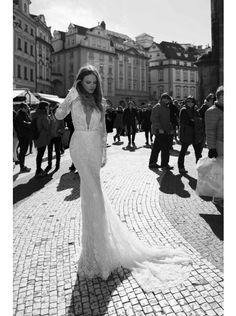 Dreamy V-neck Natural Train Lace Ivory Long Sleeve Wedding Dress with Appliques LWKT1500C #weddingdress #landybridal