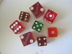 8 Vintage Dice Red Green Lucite Plastic by ElizabethJaneCottage, $10.00