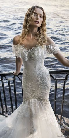 lian rokman 2018 bridal short sleeves off the shoulder sweetheart neckline full embellishment romantic mermaid wedding dress chapel train (5) zv -- Lian Rokman 2018 Wedding Dresses