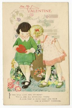 Vintage Valentine Postcard Two Children Boy Girl Gold Red Hearts Flowers 1934 | eBay