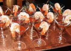 Chilled U-10 Jumbo Shrimp with our own cocktail sauce. (Max Hansen Caterer)