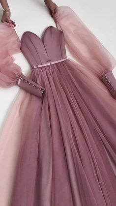Pretty Outfits, Pretty Dresses, Beautiful Dresses, Unique Prom Dresses, Formal Dresses, Long Sleeve Homecoming Dresses, Prom Dresses Long Pink, Pink Dresses, Tulle Prom Dress