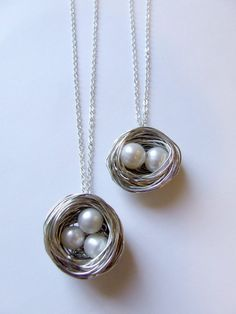 Birds Nest wire wrapped pearl necklace by beadup on Etsy