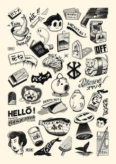 The fabulous Vintage Japanese Art by Paiheme Studio Mini Tattoos, Small Tattoos, Tattoos For Guys, Temporary Tattoos, Aa Tattoos, Ship Tattoos, Ankle Tattoos, Arrow Tattoos, Black Tattoos