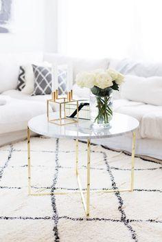 Marble Coffee table with gold base via Alexa Dagmar