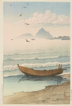 Kawase Hasui (1883-1957) Oban, yoko-e. Title: Boshu Kamogawa. A boat being pulled onto shore at sunset. Signed: Hasui. Seal: Kawase. Publisher: Watanabe Shosaburo. Date: Showa 9 (1934)