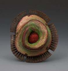 Annie Pennington - Auliscus sculptus (Diatom series) - polymer clay, copper, wool - colour pencil patina
