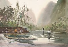 Spring, Yangshuo, China I by Keiko Tanabe Watercolor ~ 13 x 19 inches (33 x 48 cm)