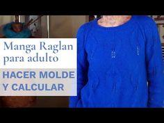 Cómo hacer molde y calcular manga raglan adulto 🧶Tejer con Lucila - YouTube Denim Button Up, Button Up Shirts, Manga Raglan, Knitting, Sweaters, Blog, Tops, Youtube, Fashion