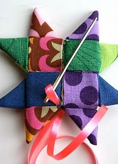 Fabric star with instructions in a mystery language - definitely do-able - get some funky fabric.