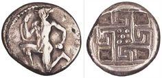 Statere in argento di Cnosso recante il Minotauro e un labirinto stilizzato. 425-350 a.C. Creta, Museo Archeologico di Heraklion.