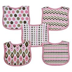 Hamco Neat Solutions Knit Terry Graphic Print Bibs - Girl (5 pack)