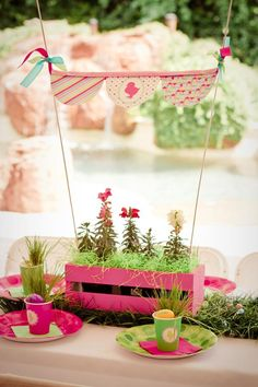 Adorable pink and green Centerpiece