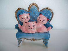 Vintage Figurine  lounging kitties by lsvintage on Etsy